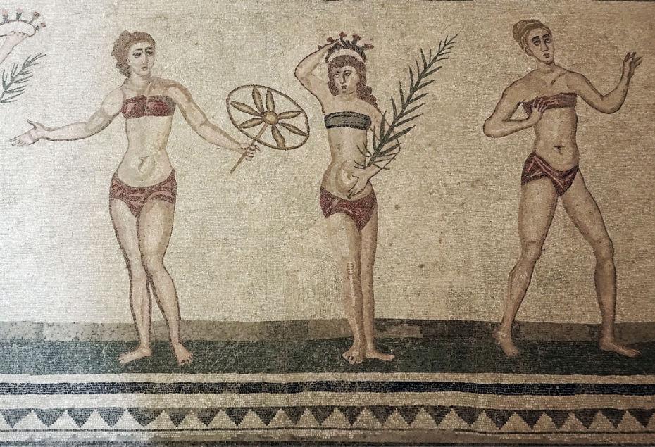 mosaico meninas de biquini na villa romana del casale