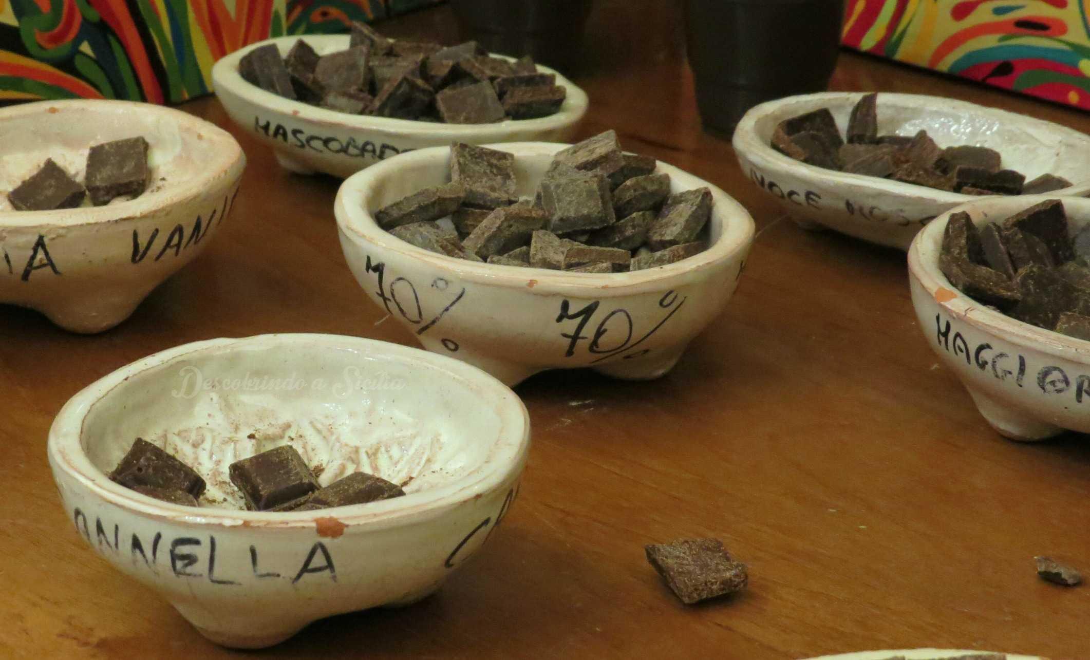 Chocolate de Modica na Antica Dolceria Bonajuto