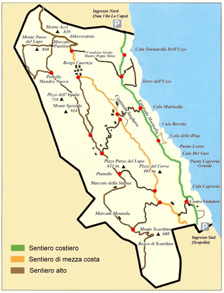 Mapa da Riserva dello Zingaro